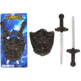 Набор оружия «Рыцарь»: 2 меча (р-р 9*2*36 см), щит (р-р 17,5*2*19 см)