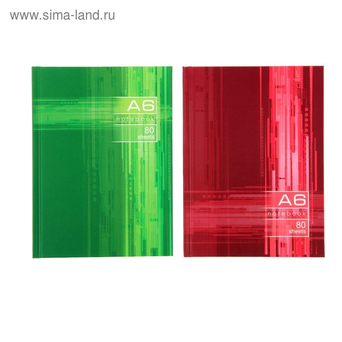 Бизнес-блокнот твердая обложка А6, 80 листов Office Style, матовая ламинация, МИКС