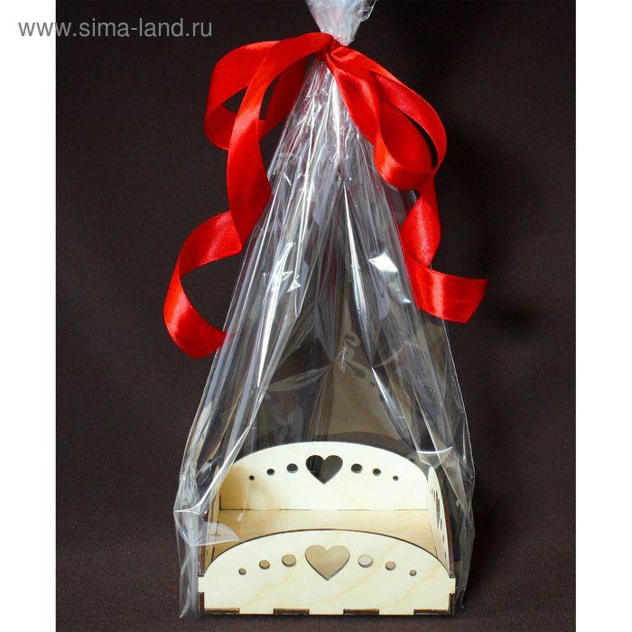 """Подарочная упаковка """"Сердечки"""", с жестким дном, 14х14х5 см"""