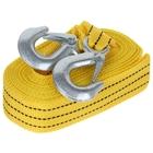 Трос-лента буксировочный TORSO premium, 5 м, 3,5 т, 2 крюка, в чехле, жёлтый