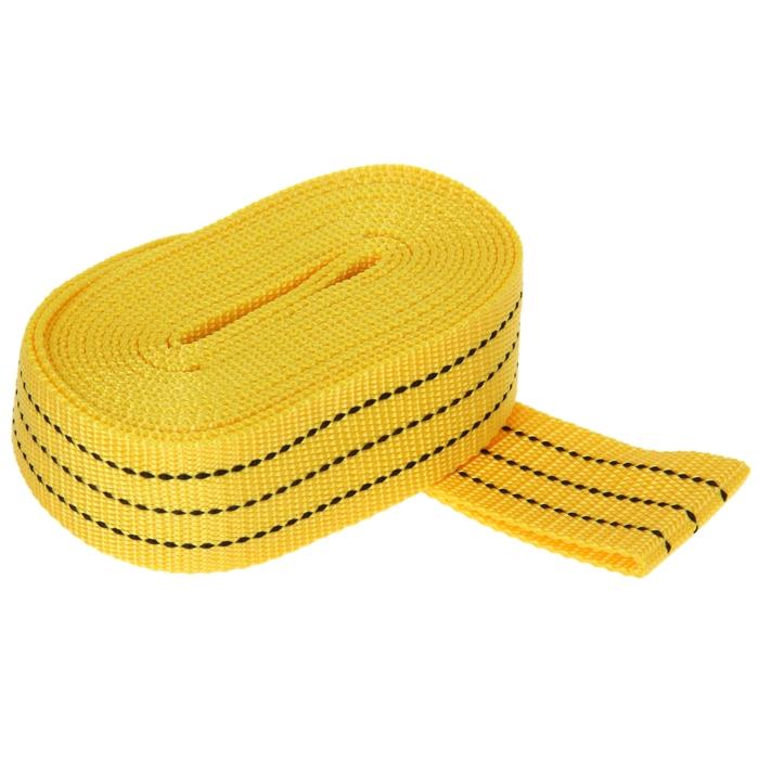 Трос-лента буксировочный TORSO premium, 5 м, 5 т, без крюков, в пакете, жёлтый