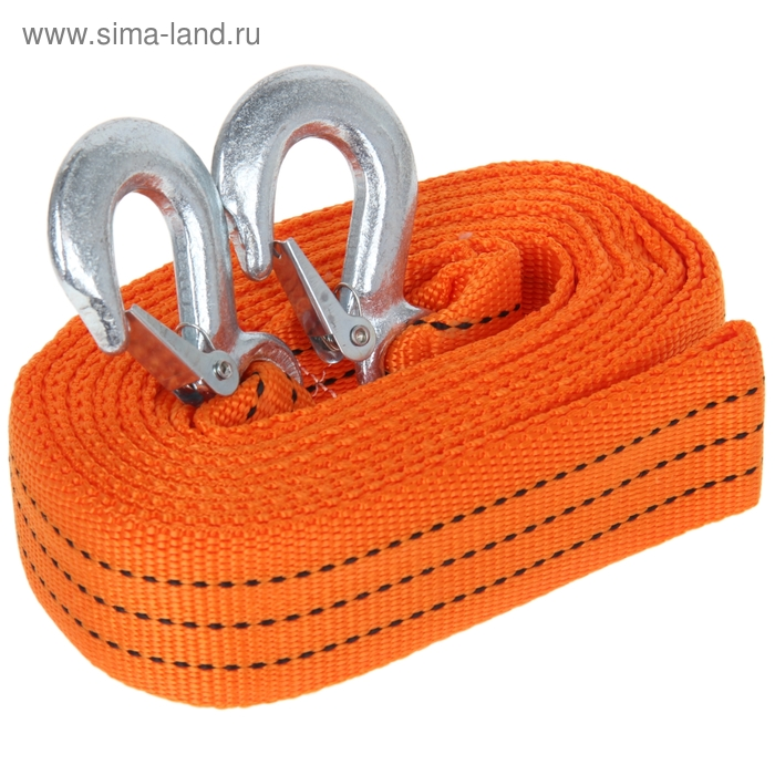 Трос-лента буксировочный TORSO, premium, длина 5 метров, 7 т., 2 крюка, в чехле, оранжевый