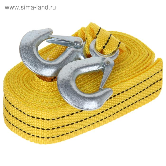 Трос-лента буксировочный TORSO, premium, длина 4 метров, 2 т., 2 крюка, в чехле, жёлтый