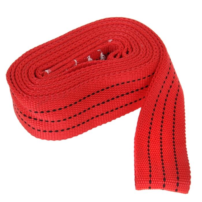 Трос-лента буксировочный TORSO premium, 5 м, 10 т, без крюков, в пакете, красный