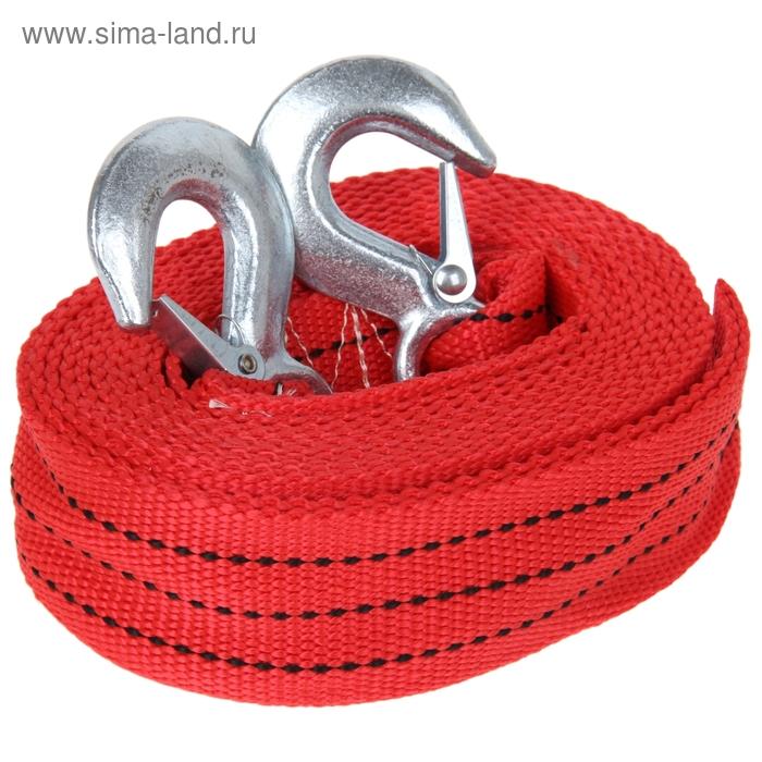 Трос-лента буксировочный TORSO, premium, длина 5 метров, 12 т., 2 крюка, в чехле, красный