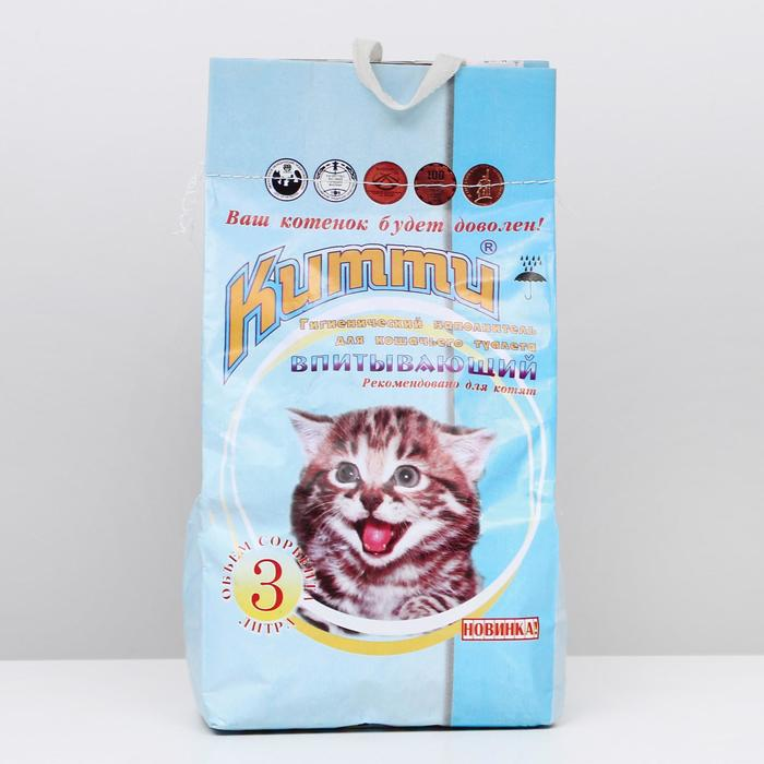 """Наполнитель минеральный впитывающий """"КИТТИ"""" для котят, 3 л"""