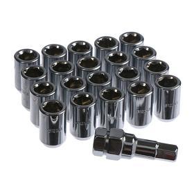 Набор гаек колёсных JN-302, 12x1.5, 32 мм, конус, 20 шт + ключ, цвет хром