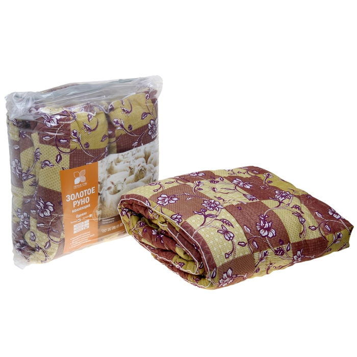 Одеяло стеганое Золотое руно 200х220 см теплое 300 гр/м, овечья шерсть, смесовый микс - фото 62791