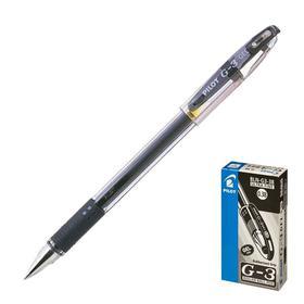 Ручка гелевая с грипом PILOT, extra fine, черная, корпус прозрачный, узел 0,38 мм, линия письма 0,2 мм, BLN-G3-38