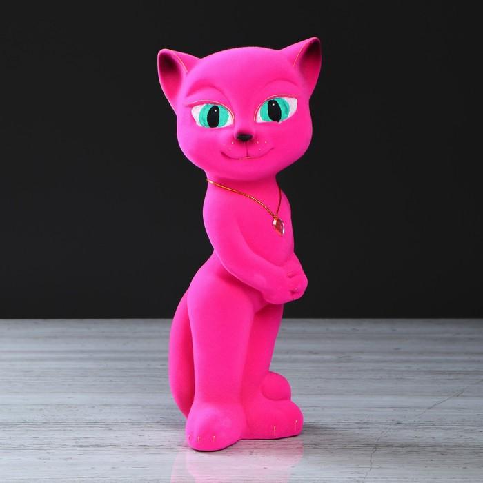 "Копилка ""Кошка Анжела"" флок, розовая"