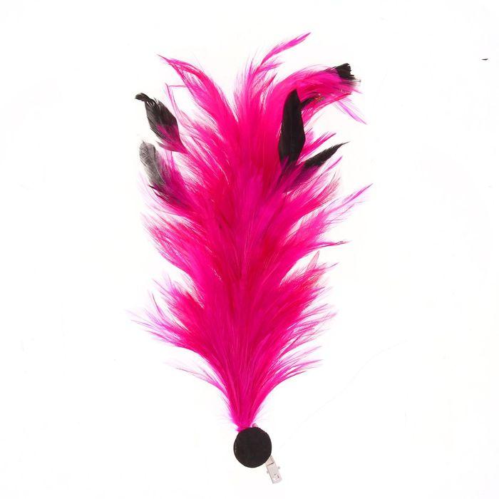 Карнавальное перо, зажим + значок, цвет фуксии