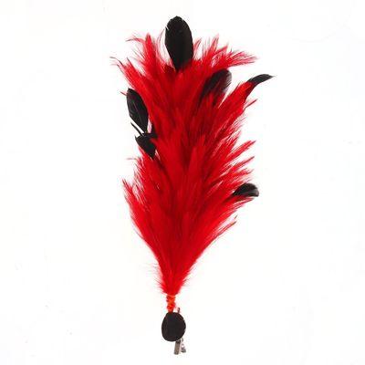 Карнавальное перо, зажим + значок, цвет красный