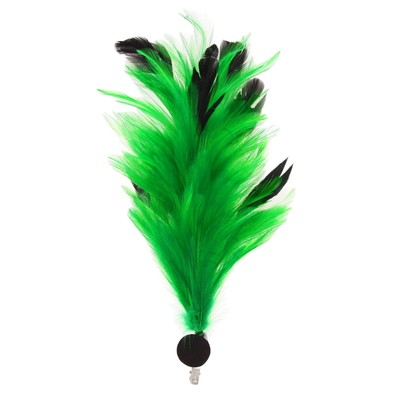 Карнавальное перо, зажим + значок, цвет зелёный