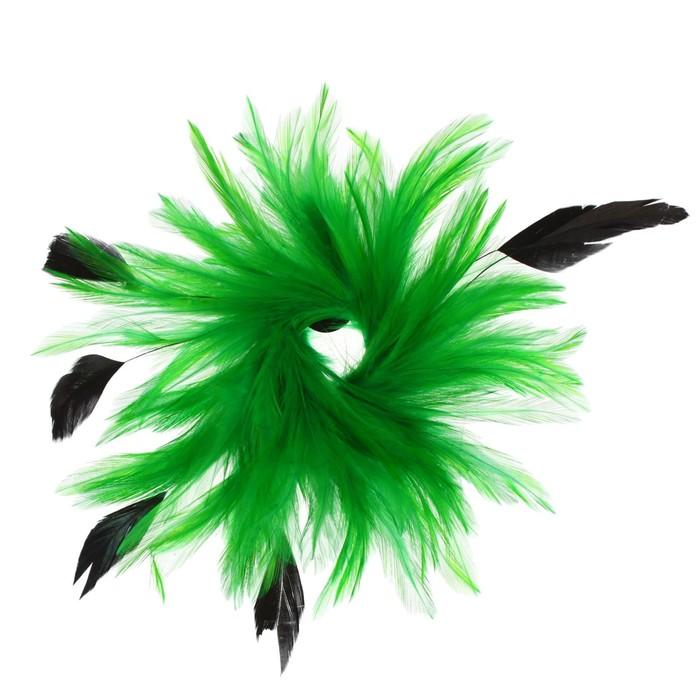 Карнавальное перо, зажим + значок, цвет зелёный - фото 438304064