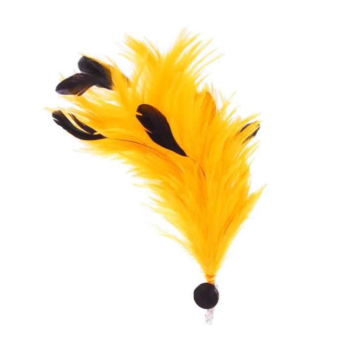 Карнавальное перо, зажим + значок, цвет жёлтый