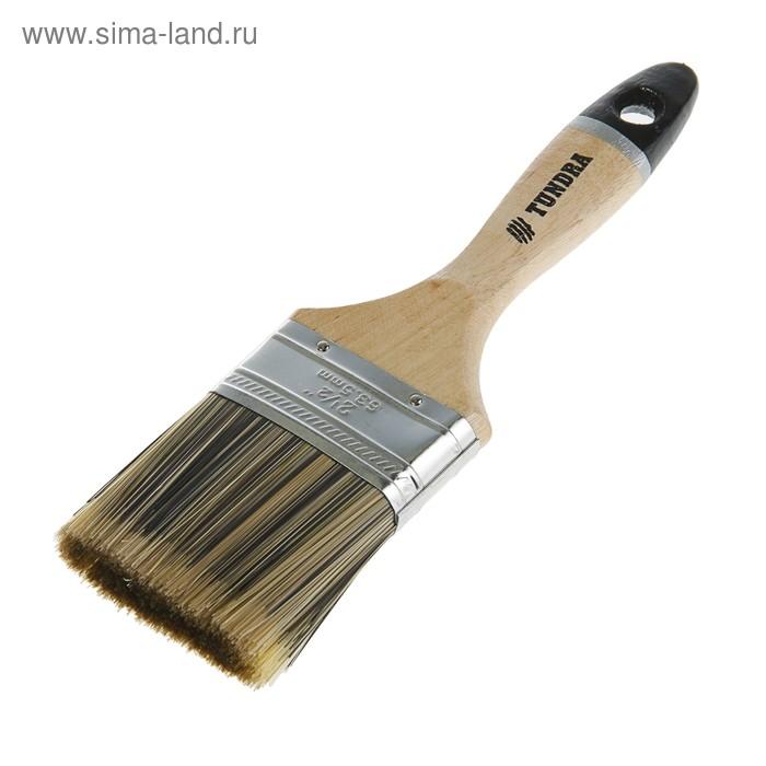 """Кисть плоская TUNDRA premium, искусственная щетина, деревянная ручка 2,5"""" (63 мм)"""