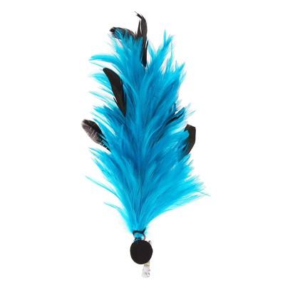 Карнавальное перо, зажим + значок, цвет голубой