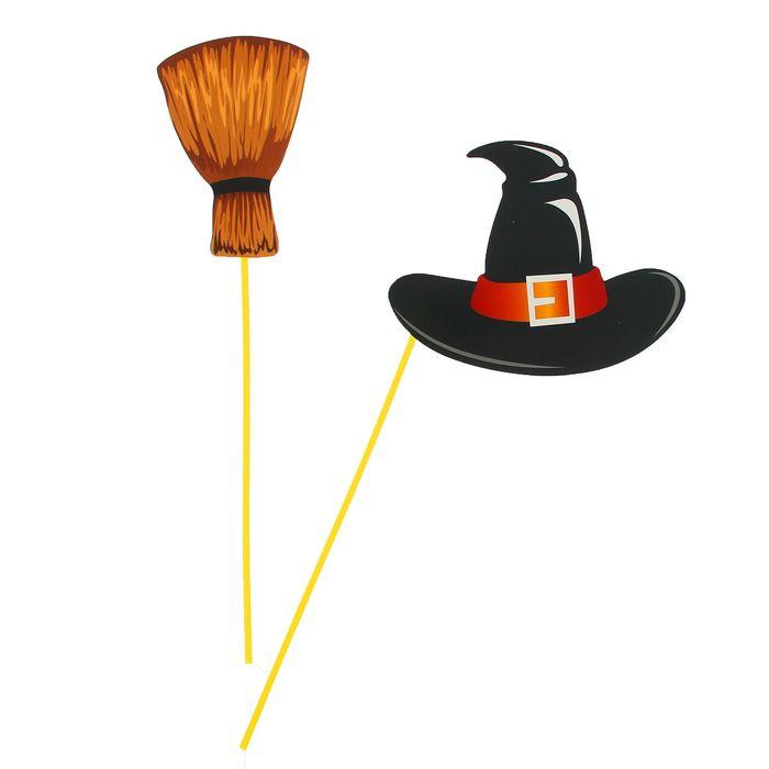 Аксессуар для фотосессии на палочке гигант, 2 предмета: шляпа, метла