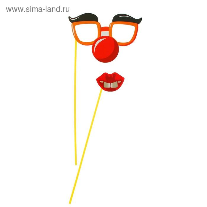Аксессуар для фотосессии на палочке гигант, 2 предмета: губки. очки с бровями