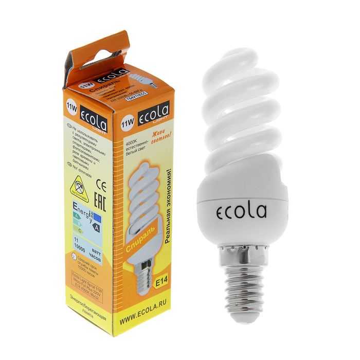 Лампа энергосберегающая Ecola, Е14, 11 Вт, 4000 K