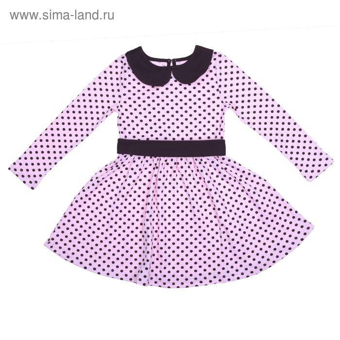 """Платье для девочки """"Осенний блюз"""", рост 122 см (62), цвет шоколадный/розовый, принт горошек (арт. ДПД854067н_Д)"""