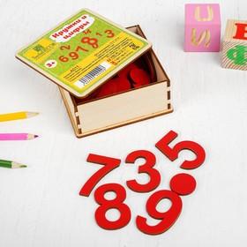 Кружки и цифры в деревянной коробке