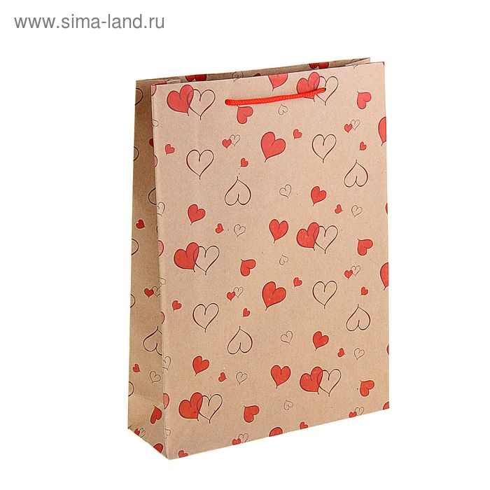 """Пакет крафт """"Красные сердца"""""""