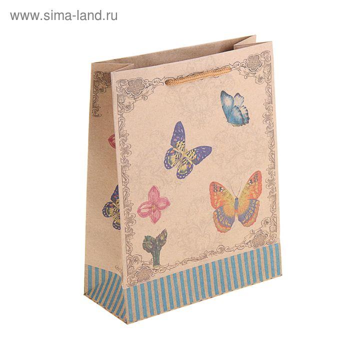 """Пакет крафт """"Бабочки и полоска"""""""
