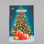 """Пакет """"Елочка с подарками"""", полиэтиленовый с вырубной ручкой, 30 х 20 см, 30 мкм"""