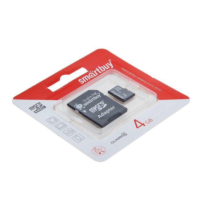 Карта памяти microSDHC Smartbuy 4GB, class 4 + адаптер