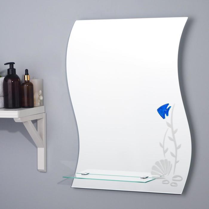 Зеркало «Риф», настенное, с полочкой, 50×63,7 см