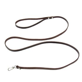 Leash embossed leather single layer, 1.4 m x 0.8 cm, brown