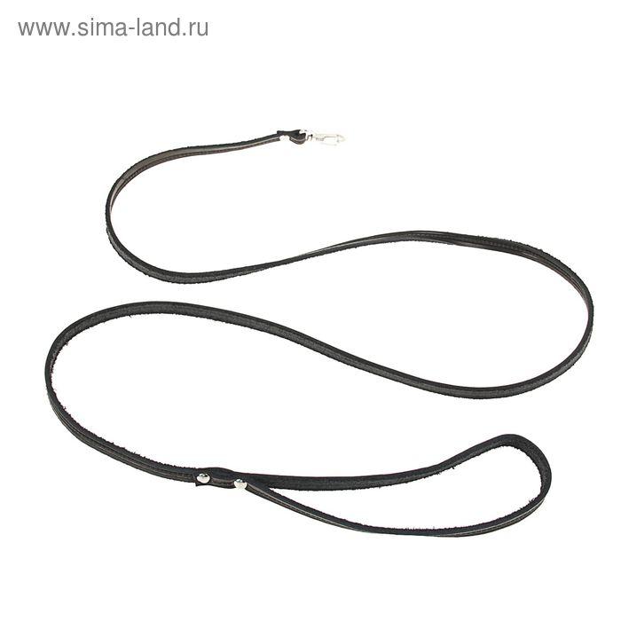 Поводок кожаный тисненый однослойный, 1.4 м х 0,8 см, черный