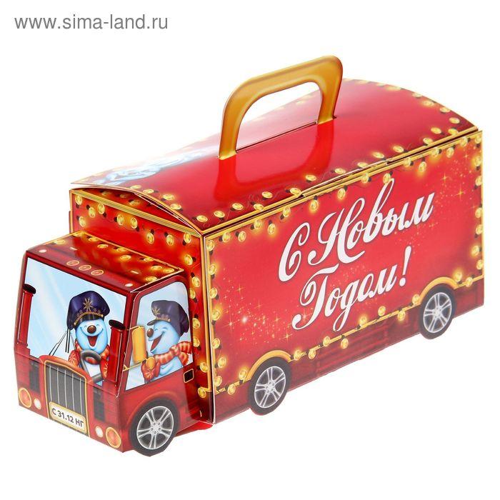 """Коробка складная с объемной открыткой """"Новогодний автоэкспресс"""""""