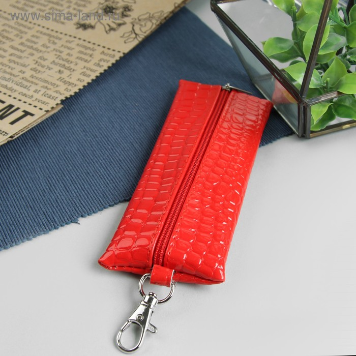 Ключница на молнии, металлическое кольцо, карабин, красная рептилия