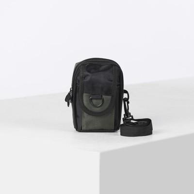"""Сумка мужская """"Джей"""", 2 отдела, 1 наружный карман, регулируемый ремень, цвет чёрный/хаки"""
