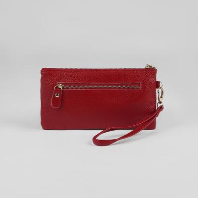 Клатч женский, 2 отдела, 1 отдел на молнии, наружный карман, с ручкой, цвет бордовый