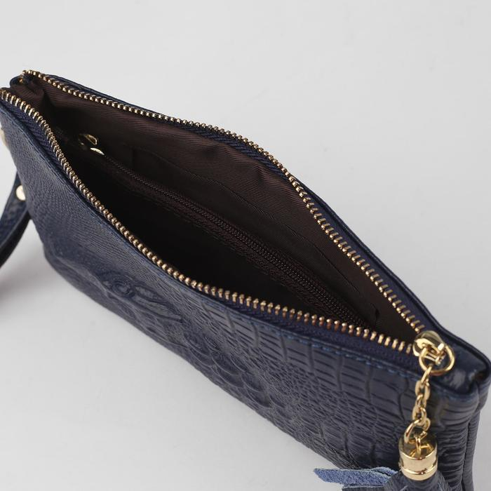 Клатч женский, 2 отдела, 1 отдел на молнии, наружный карман, с ручкой, цвет синий