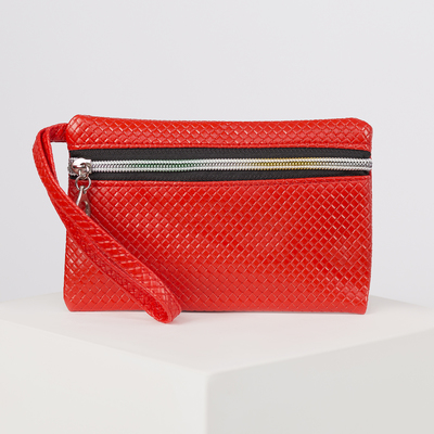 Purse female Network, 1 division, pen, glossy, color red