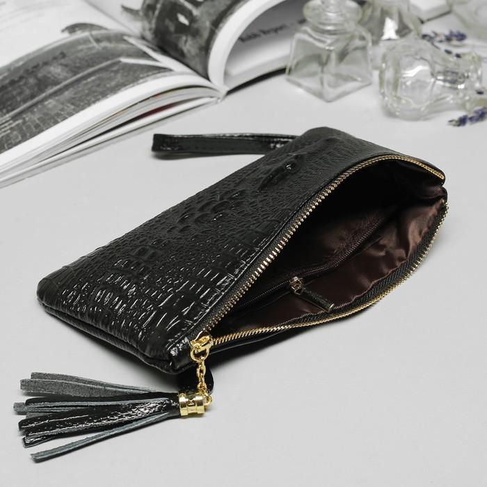 Клатч женский, 2 отдела, 1 отдел на молнии, наружный карман, с ручкой, цвет чёрный