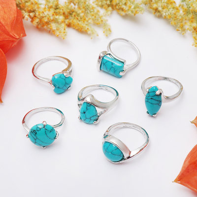 Ring Turquoise small, form, MIX, size 17, 18, 19