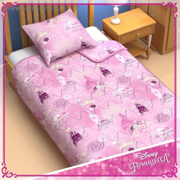 """Одеяло 1,5 сп """"Принцессы"""" 140*205 см файбер, поплин, 200 г/м2"""