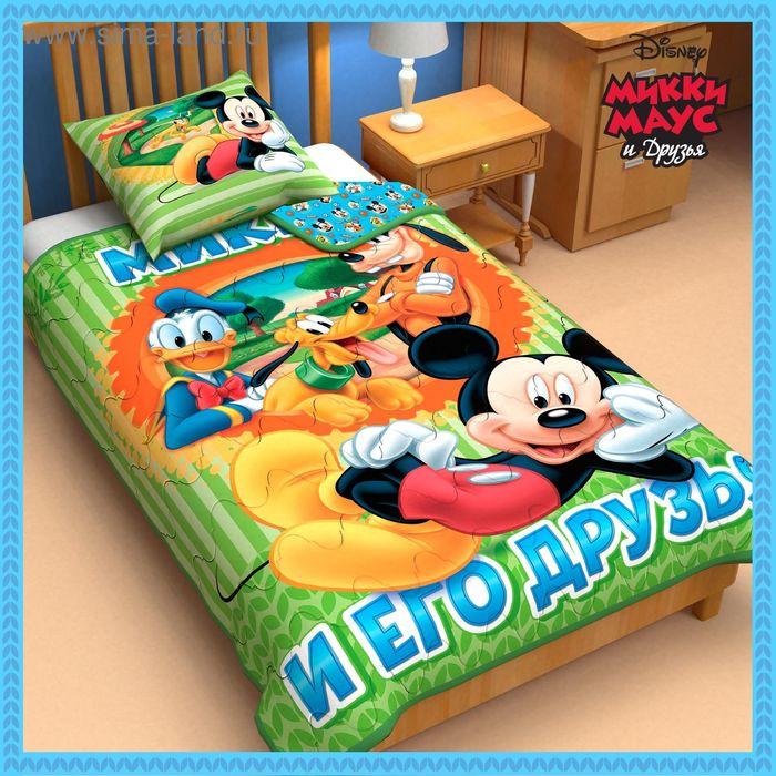 """Одеяло панно 1,5 сп """"Микки Маус и его друзья"""" 140*205 см леб.пух, поплин, 200 г/м2"""