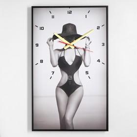 """Часы настенные, серия: Люди, """"Девушка в шляпе"""", 57х35х4"""