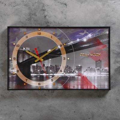 """Часы настенные, серия: Город, """"Бруклинский Мост, New York"""", 37х60  см, микс"""