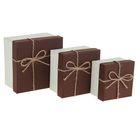 """Набор коробок 3 в 1 """"Классика"""", коричневый, 13 х 13 х 7,5 - 9 х 9 х 5,5 см"""