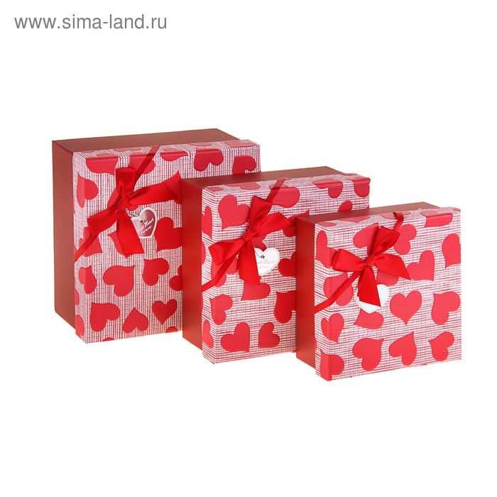 """Набор коробок 3в1""""Сердца"""", цвет красный"""