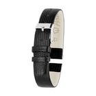 Ремешок для часов, женский, 12 мм, натуральная кожа, фактура ящер, черный