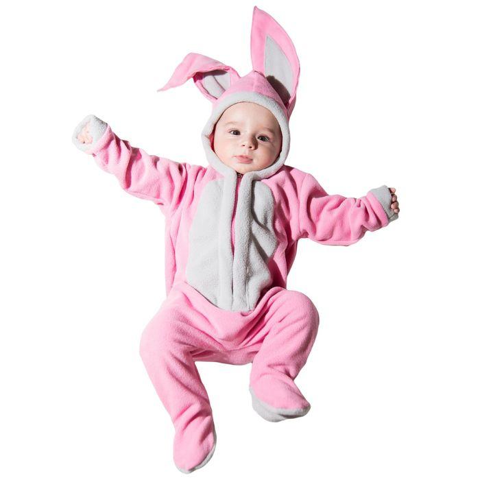 """Детский карнавальный костюм """"Малышка Зайка"""", цвет розовый: комбинезон на 6-9 месяцев (рост 75 см)"""