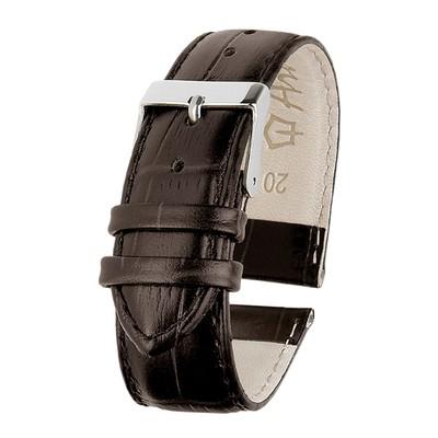 Ремешок для часов, мужской, 20 мм, фактура крокодил, темно-коричневый, удлиненный микс